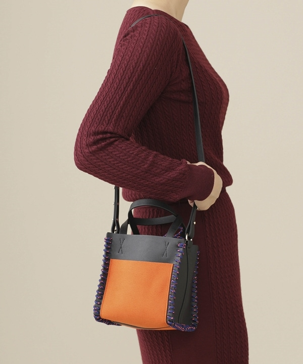 Square Leather Mini Hand Bag