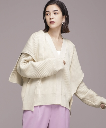COTTON CARDIGAN + MUFFLER SET